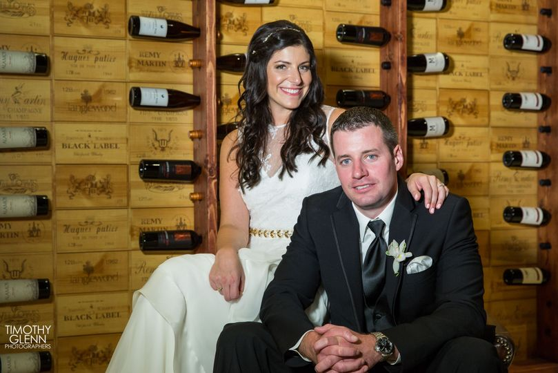 Bride and groom in the Wine Cellar