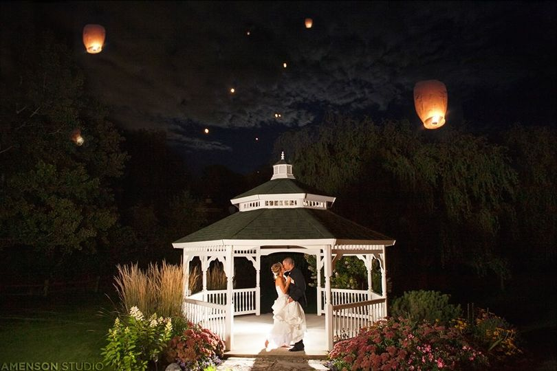 gazebo at night with candles