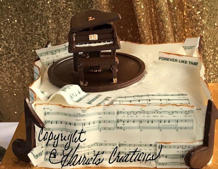 chocolate piano and lyrics cake