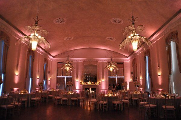 New Haven Lawn club wedding, pink up-lighting.
