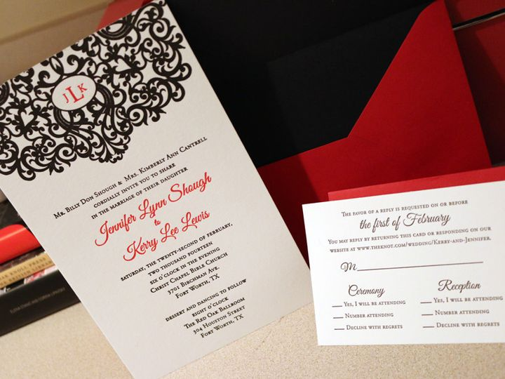 Tmx 1430232534837 Elegantdamaskmongram Bedford wedding invitation
