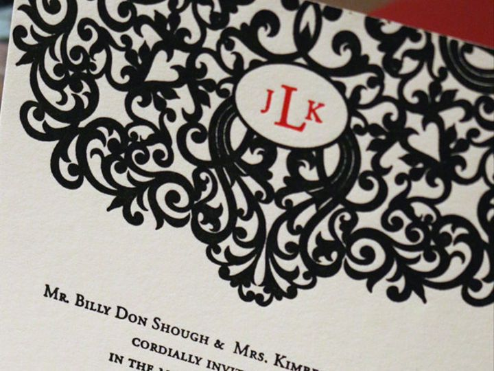 Tmx 1430232539377 Elegantdamaskmongramcloseup Bedford wedding invitation