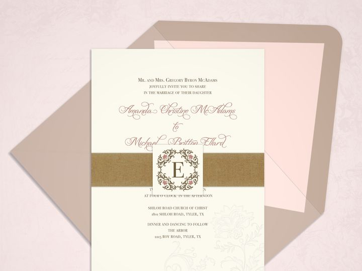 Tmx 1430232612489 Vintage Flower Monogrammockup Bedford wedding invitation