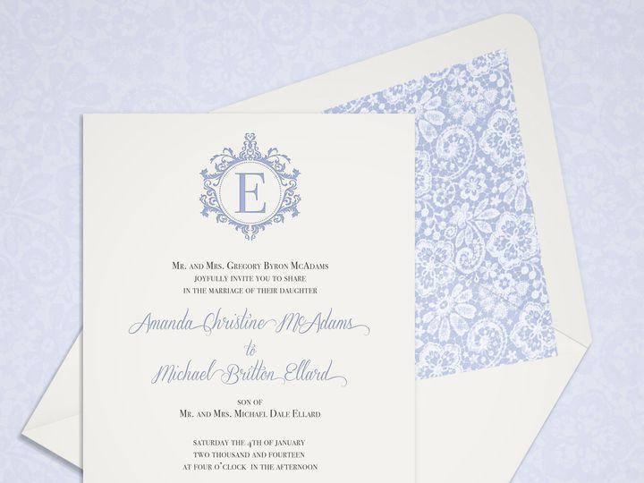 Tmx 1430232626862 Vintagelacemonogram3 Bedford wedding invitation