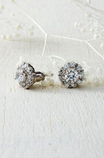 """Glint Flower CZ Earrings Sterling Silver with CZs. .50"""" diameter. As Seen in InStyle Weddings..."""