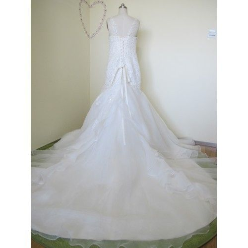 ELEGANT AND GRACE MERMAID TULLE&SATIN HIGH NECK SEQUINS &BEADING CHAPEL TRAIN WEDDING DRESS W9040...