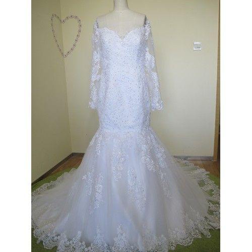 ELEGANT MERMAID TULLE&SATIN APPLIQUES BATEAU NECKLINE SEQUINS &BEADING CHAPEL TRAIN WEDDING DRESS...