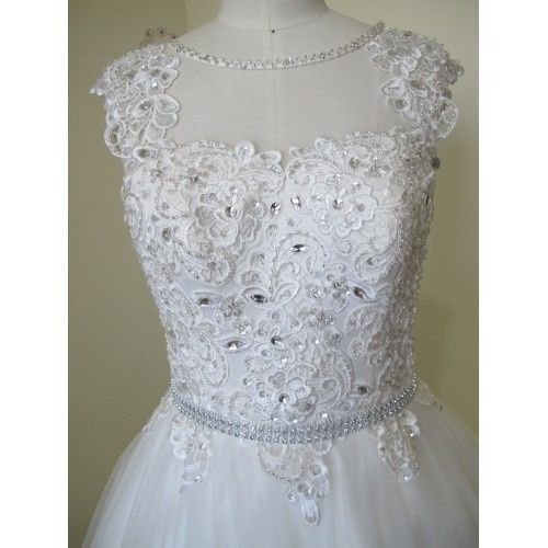 GLAMOROUS BALL GOWN TULLE&SATIN BATEAU NECKLINE SEQUINS BEADING&CRYSTALS CHAPEL TRAIN WEDDING DRESS...