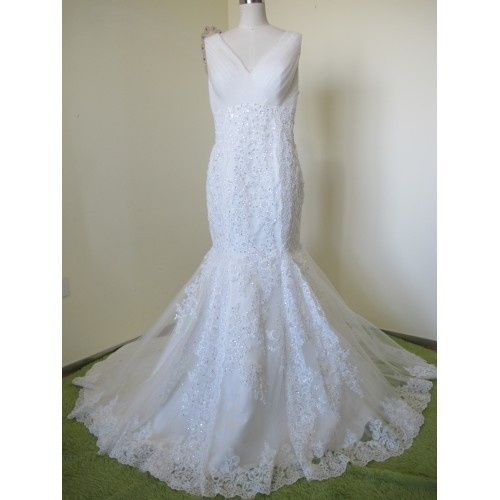 ELEGANT MERMAID TULLE&SATIN APPLIQUES V-NECK SEQUINS &BEADING CHAPEL TRAIN WEDDING DRESS W9043...