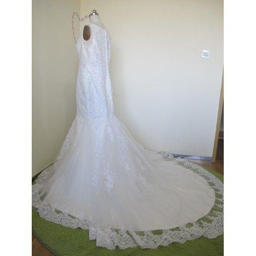 ELEGANT MERMAID TULLE&SATIN APPLIQUES V-NECK SEQUINS &BEADING CHAPEL TRAIN WEDDING DRESS W9043...