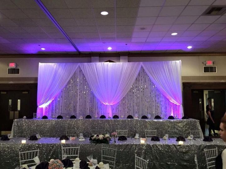 Head table backdrop with up lighting.