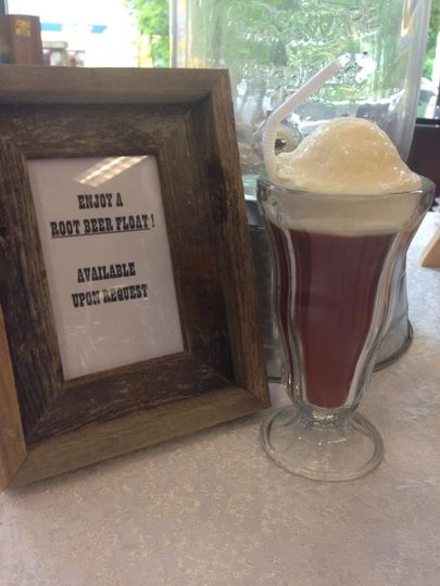 We can take the orange cream soda or root beer and make it a float. Whip cream added.