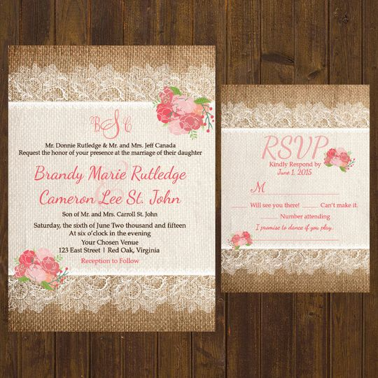 Dainty lace and pink invite