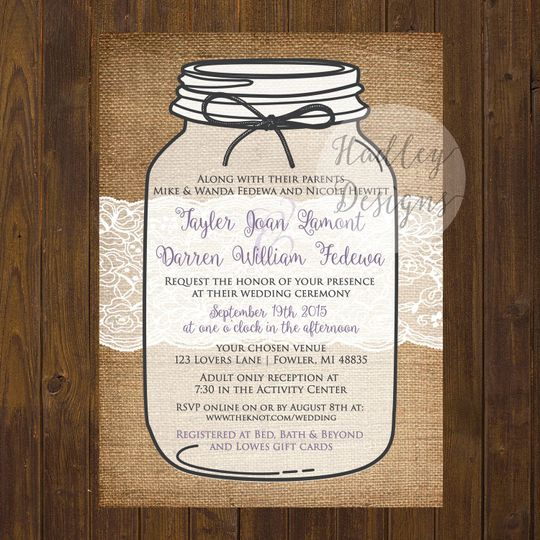 Lace and jar invite