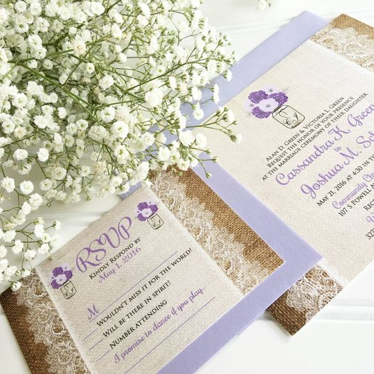 Dainty lace and lavender invites
