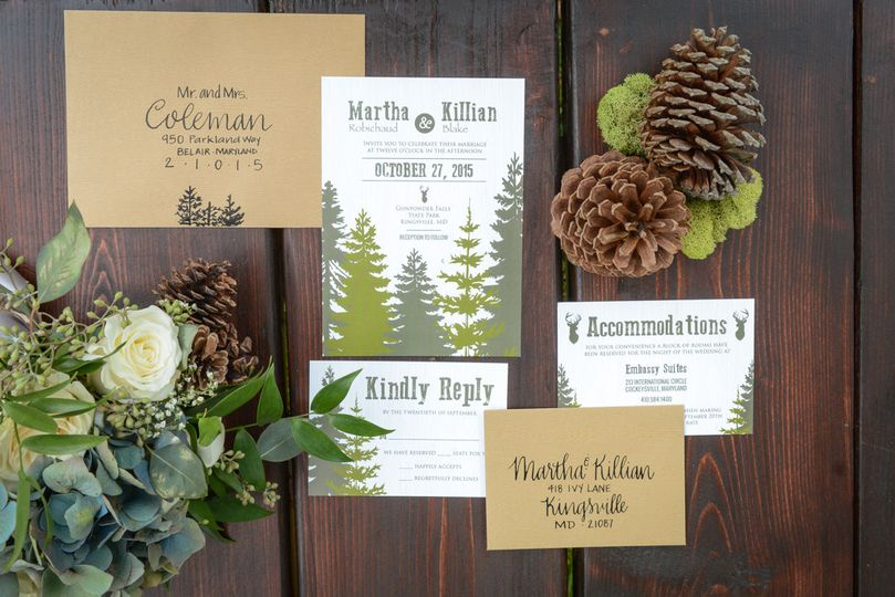 Trees design in brown envelope