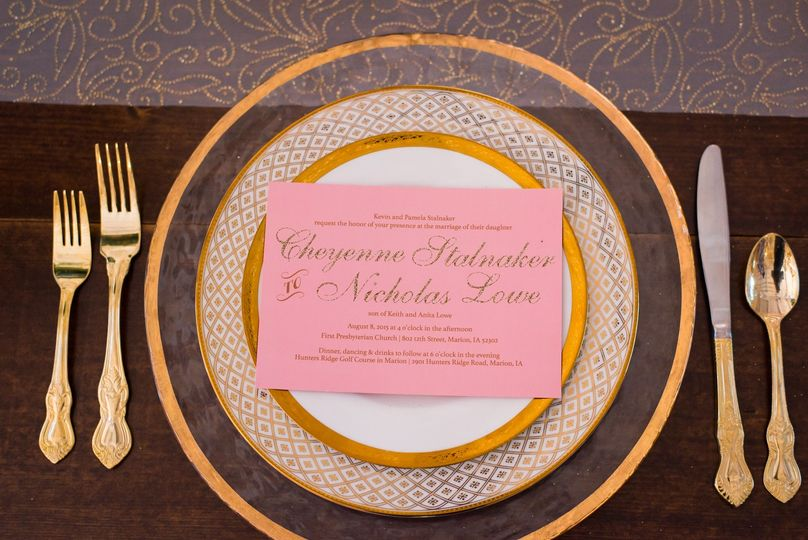 Pink invite with gold ink