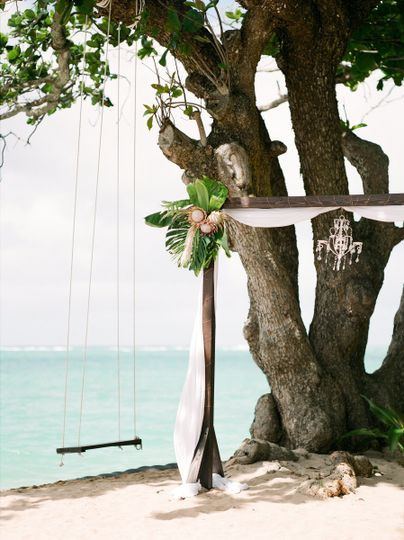 Our Kona Altar and Aloha Swing for a beach wedding on the North Shore of Oahu