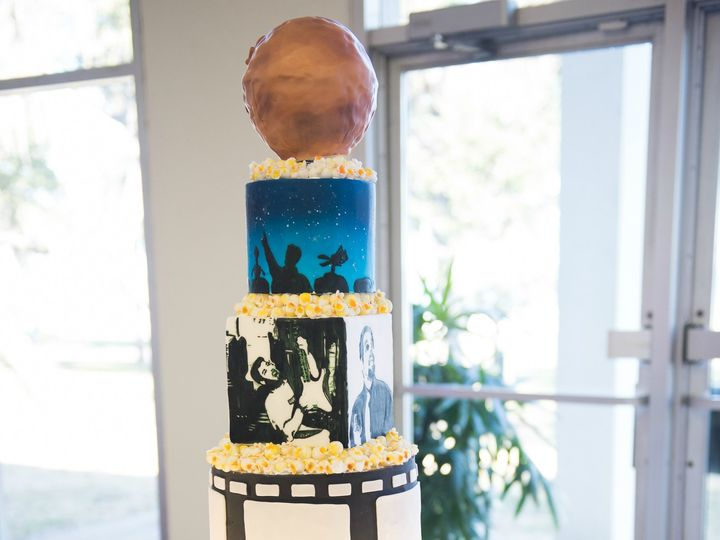Tmx 1500933368147 Groomscakemoviethemedmst3kpopcornhand Painted Colorado Springs wedding cake