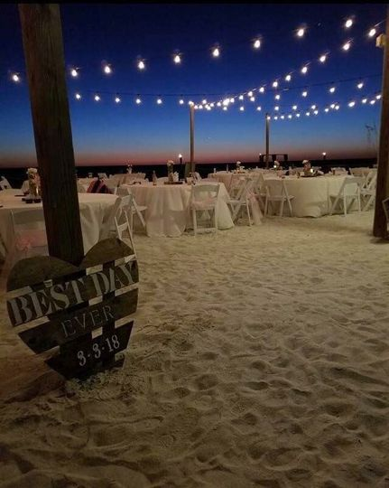 Night view of beach reception in Ft. Myers FL