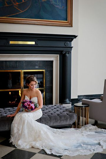 Bridal portrait by the fireplace