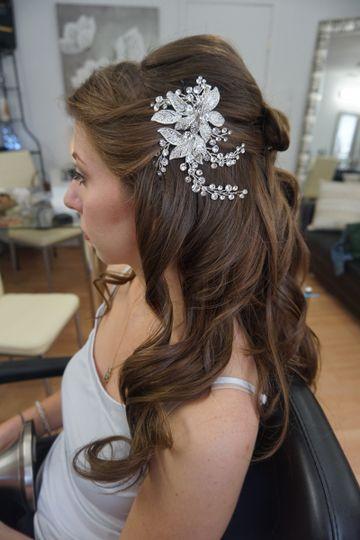 Wavy wedding hair with accessory