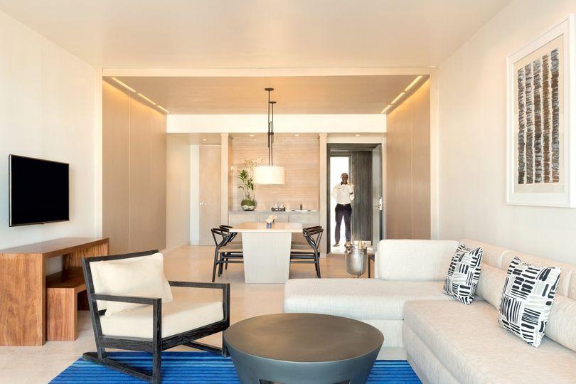 living area of 1 bedroom ocean front suite
