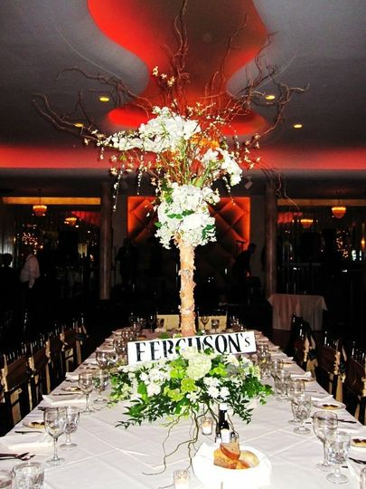 Dining table with a floral centerpiece