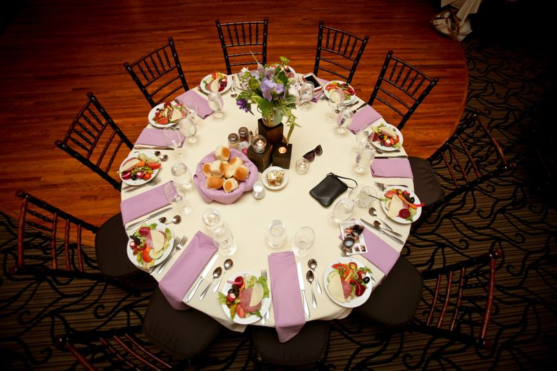 Aerial shot of table