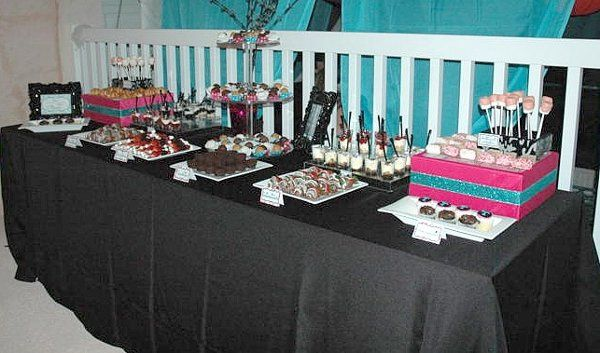 8 foot table, 4types of handmade truffles, 4 different mini parfaits, berry skewers, chocolate...