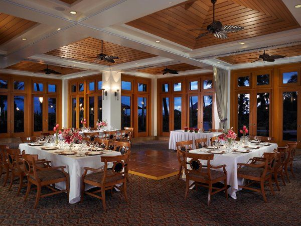Romantic ambiance abounds in the Coral Reef Room. The surrounding glass doors open to beautiful koi...