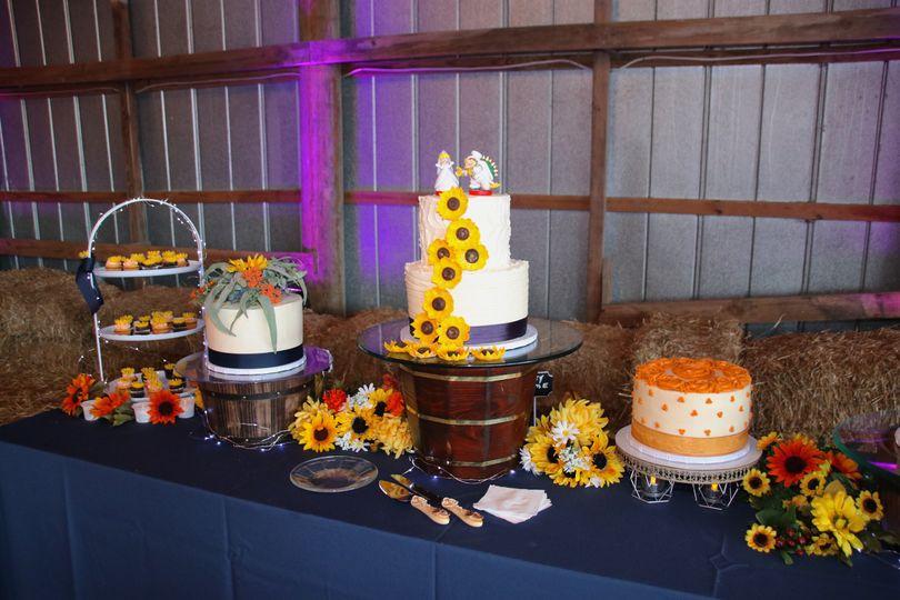 Dessert table in the barn