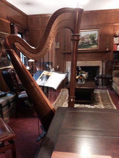 The harp indoors