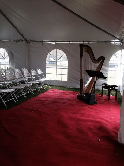 The harp in a tent setting