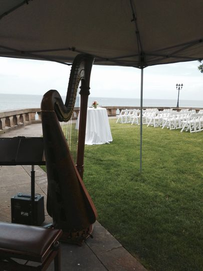 The harp in tent setting