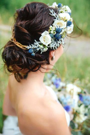 Updo with flower crown