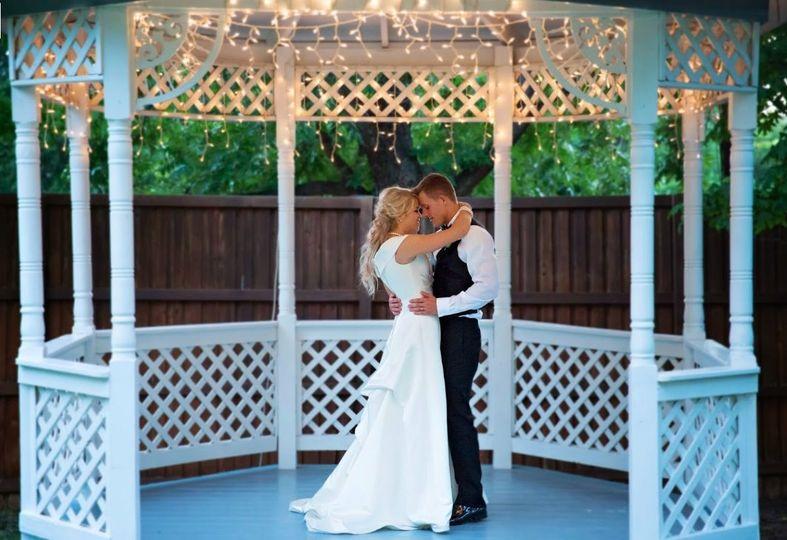 Newlyweds at the gazebo