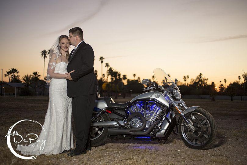 biker wedding photo