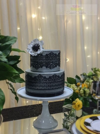 Silver Fondant Wedding Cake with Black Lace and Sugar Flower