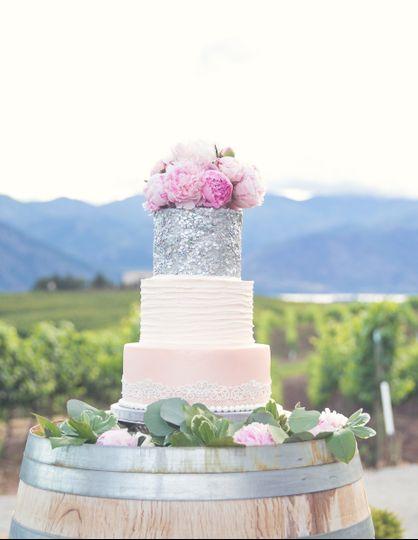 Blush & Silver Winery Wedding Cake