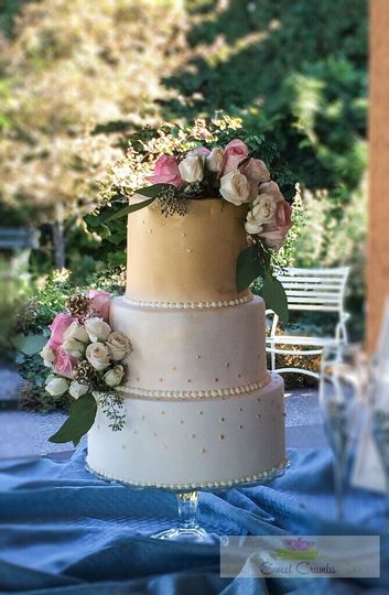 Blush & Gold with Sequins Wedding Cake