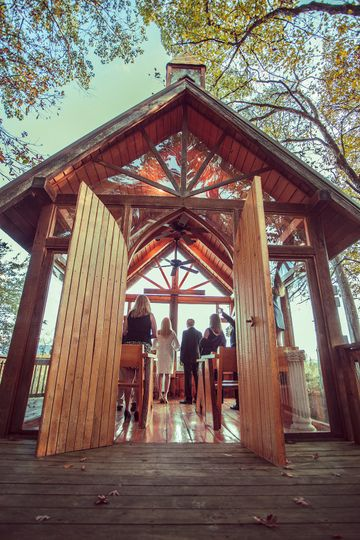 Ceremony at the rustic chapel