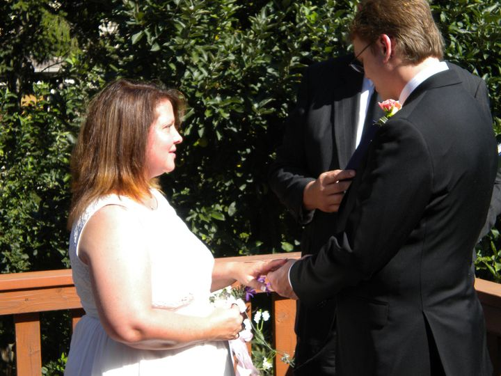 Jim officiated an intimate ceremony on the deck of Jeff and Sharon's beautiful new home.
