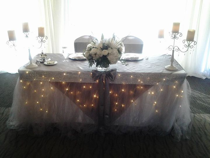 One of many ways to set-up a head table. This is a simple head table for the couple only