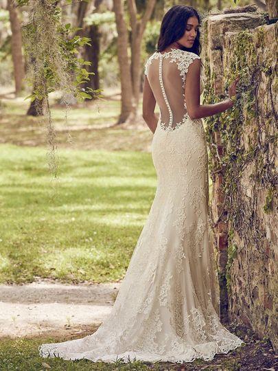 Mesh back wedding dress