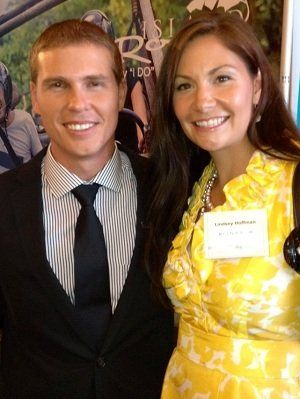 Lindsey Hoffman from Ultra Tech Travel pictured with Adam Stewart the CEO of Sandals and Beaches...