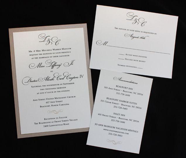 champagne black cream mongram and scroll formal w