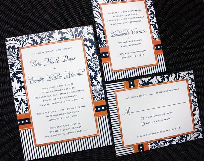 orange navy blue damask stripes dots wedding inv