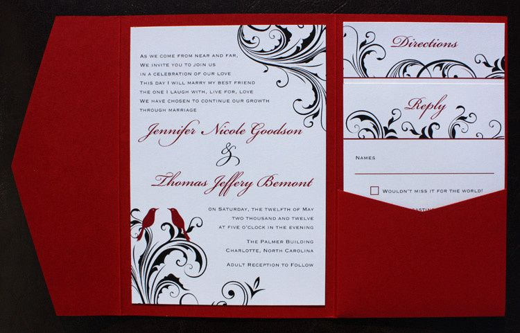Emdotzee designs invitations cary nc weddingwire wedding inv 800x800 1419809765573 red black white love birds and swirl vine pocketf stopboris Choice Image