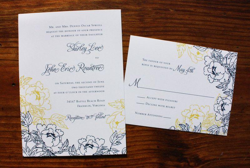 navy blue yellow white peony wedding invitations